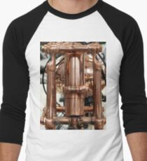 Classic vintage Jap motorcylce photograph close up, showing all the copper detail Men's Baseball ¾ T-Shirt