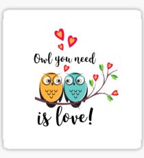 vector love couple owls with hearts  Sticker