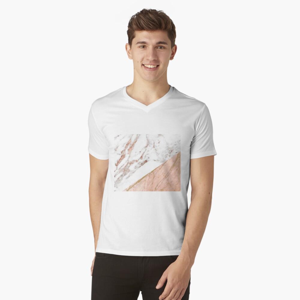 Rose gold marble blended V-Neck T-Shirt
