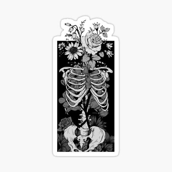 Gothic Flower And Bones 14 Sticker