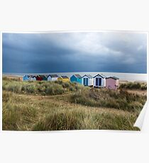 Line of Beach Huts at Southwold Poster