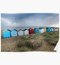 Colourful Beach Huts at Southwold Poster
