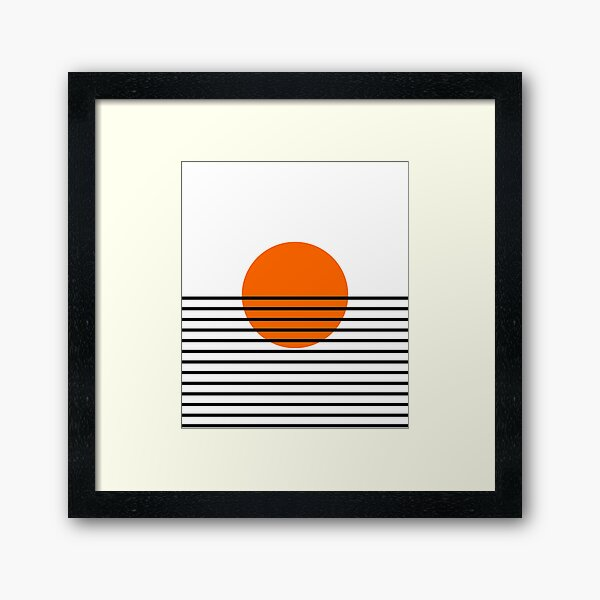 Lines Striped Mid Century Vintage Sun Framed Art Print