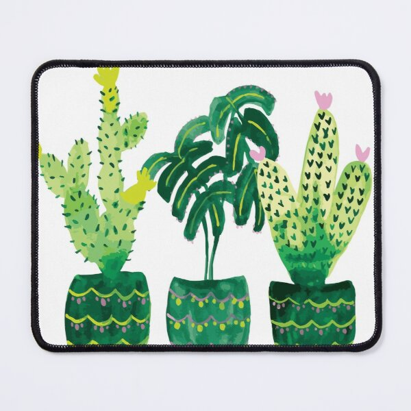 Green Potted Plant Trio- Cactus Mouse Pad