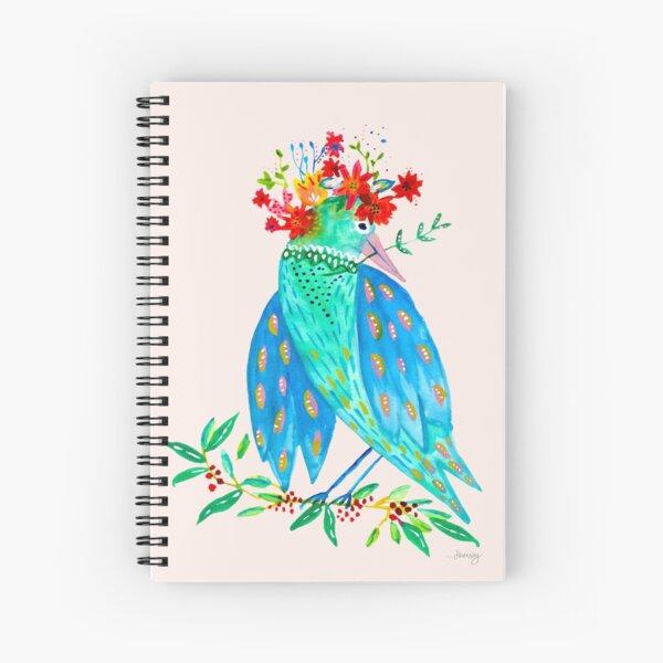Folk Art Bird in Flower Crown Spiral Notebook