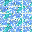 Tropical Floral In Teal Turquoise And Blue by theartofvikki