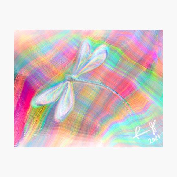 Modern Neon Plaid Dragonfly Photographic Print