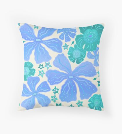 Tropical Floral In Teal Turquoise And Blue Throw Pillow