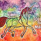 Follow the Magic. Watercolor Unicorn Illustration. by mellierosetest