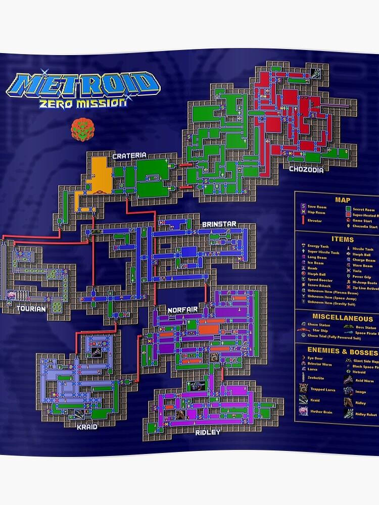 Metroid Zero Mission Karte Poster Von Punkinnonstop Redbubble