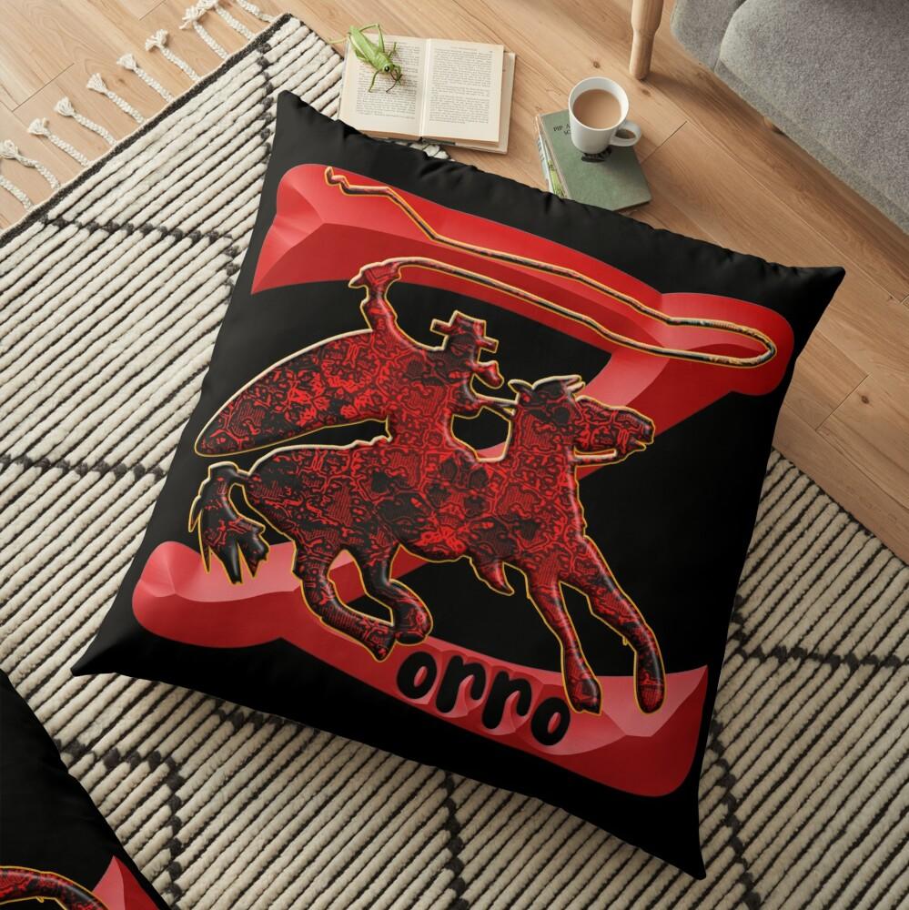 Z AS IN ZORRO - ZORRO ON HORSEBACK - ZORRO THE MYTH - THE WHIP MASTER - THE LEGEND OF AN OUTSTANDING HORSEMAN3 Floor Pillow