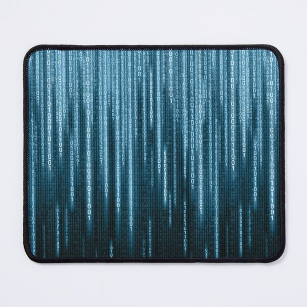 Blue Binary Rain Mouse Pad
