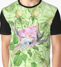 deer skull and green roses Graphic T-Shirt