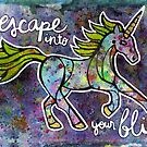 Escape into Your Bliss. Magical Unicorn Watercolor Illustration. by mellierosetest