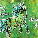Let Magic Drive You. Magical Unicorn Watercolor Illustration. by mellierosetest