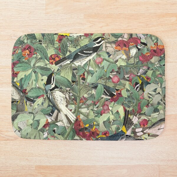 Spring Reflection, Floral/Botanical Pattern With Birds And Leaves Bath Mat