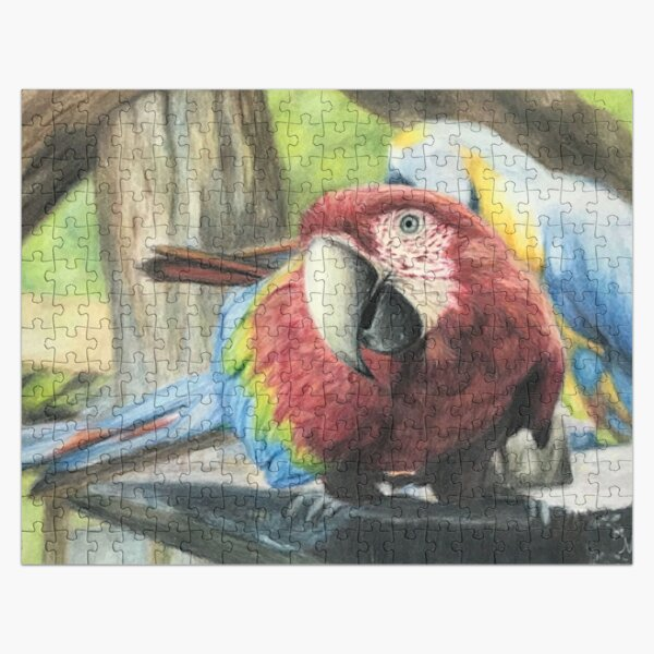 Scarlet Macaw parrot - bird lover Jigsaw Puzzle