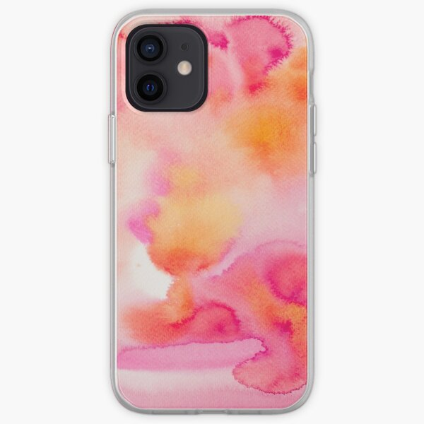 Pink & Orange Sea - Abstract Watercolor Coral Reef Collection iPhone Soft Case