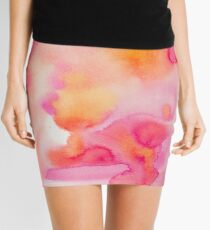 Pink & Orange Sea - Abstract Watercolor Coral Reef Collection Mini Skirt