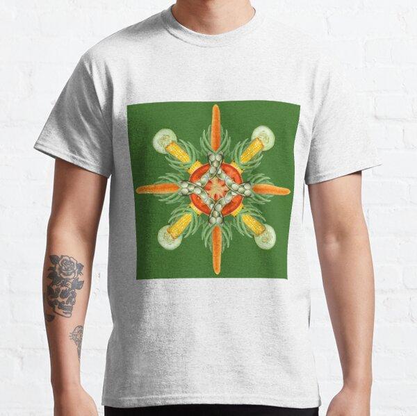 Bean-Carrot-Corn Mandala-deep green Classic T-Shirt