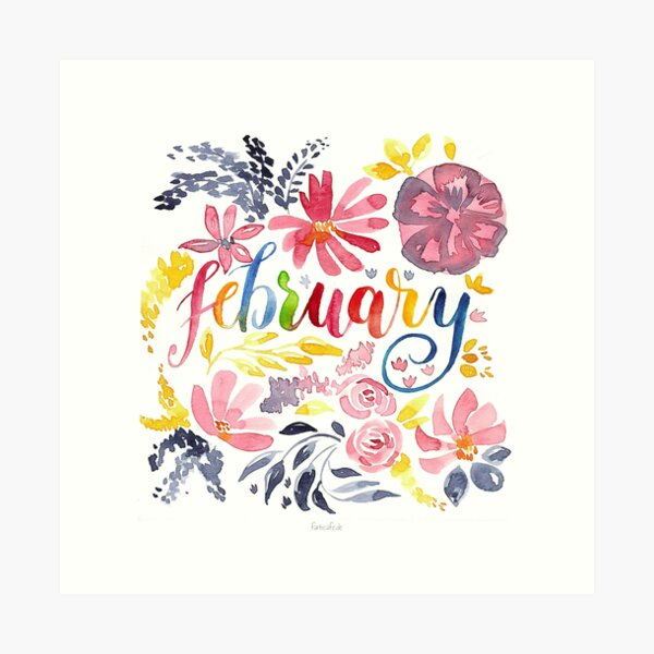 """Februar Aquarell """"Dreamy Flowers"""" Kunstdruck"""