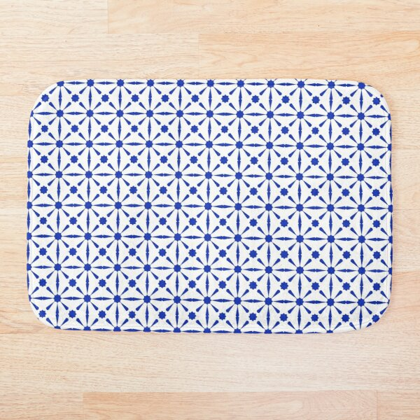 Geometric Blue Andalusian Moroccan Tiles Style Bath Mat