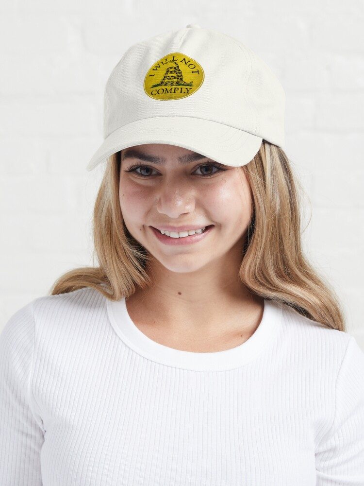 """Alternate view of """"I Will Not Comply"""" With Don't Tread on Me Rattlesnake Cap"""
