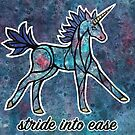 Stride into Ease. Magical Unicorn Watercolor Illustration. by mellierosetest