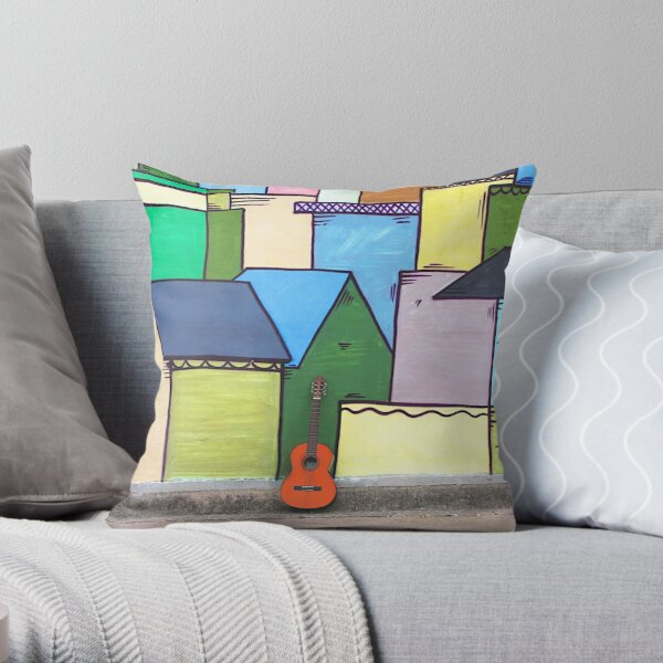 Guitars About Town - houses Throw Pillow