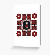 Little School Girl Red, White, & Navy Greeting Card