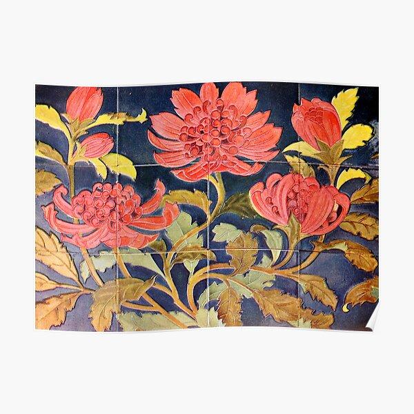 Classic Sydney Waratah Tiles (alternate design) Poster