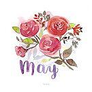 Mai Aquarell Blumen mit Lettering von farbcafe