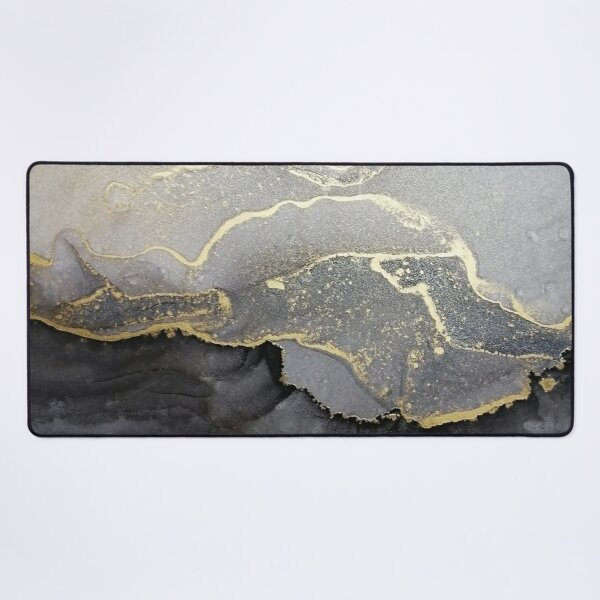 Elegant black gold marble ink abstract painting  Desk Mat