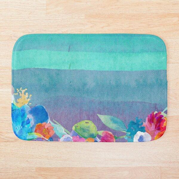 Multicolored watercolor flowers Bath Mat
