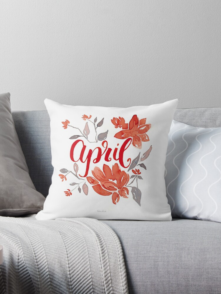 April Blumen-Aquarell mit Lettering von farbcafe
