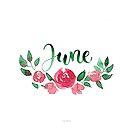 Juni Aquarell Blumen-Bouquet mit Handlettering von farbcafe