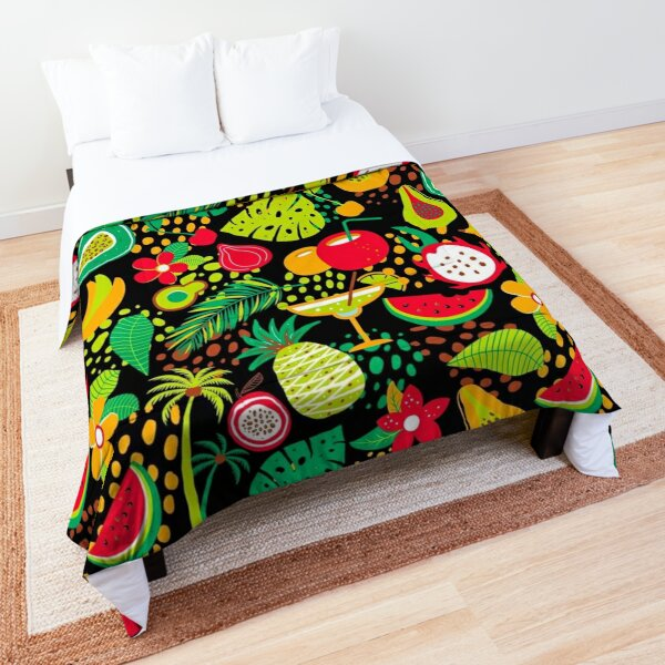 Hawaiian pattern with tropical fruits and flowers Comforter