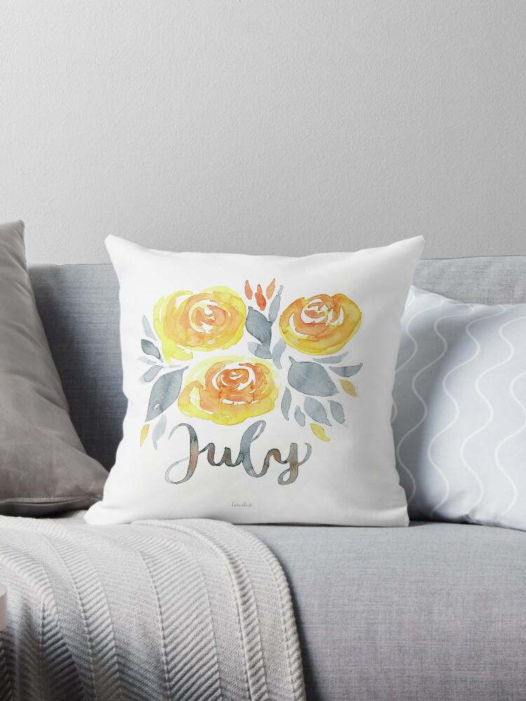 Juli Blumen Aquarell mit Handlettering von farbcafe