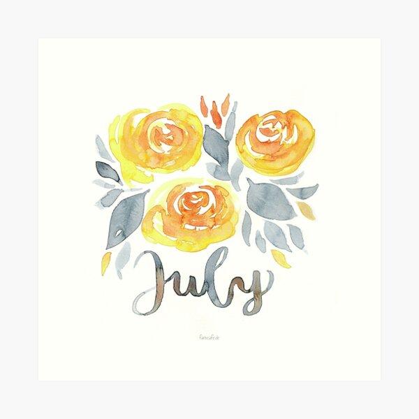 Juli Blumen Aquarell mit Handlettering Kunstdruck