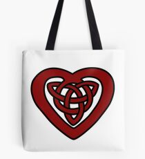 Red Celtic Knot Heart Tote Bag