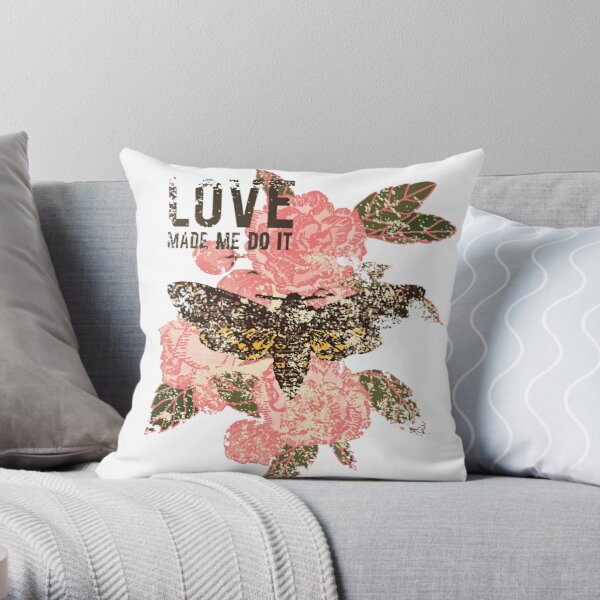 Love Makes You Do it, Pink Flowers And Butterfly Throw Pillow