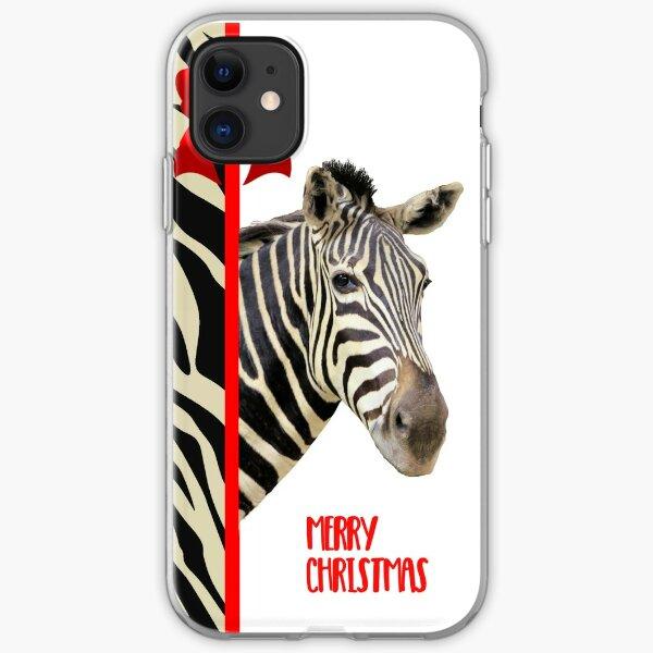 Zebra Christmas Card iPhone Soft Case