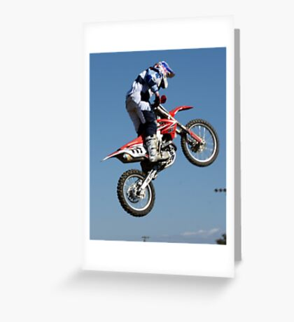 Motocross is .... more than a leap of faith!  Perris MX, Perris CA USA Greeting Card