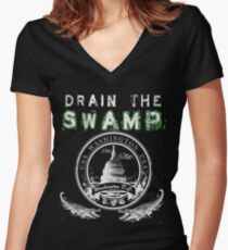 Drain the Swamp Pro Trump Apparel Women's Fitted V-Neck T-Shirt