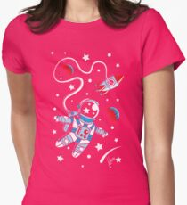 Space Walk Womens Fitted T-Shirt