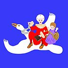 Vintage Mother Goose On Her Flying Goose by Marian Cates