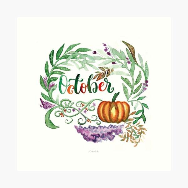 Oktober Handlettering mit floralem Aquarell und Kürbis Kunstdruck