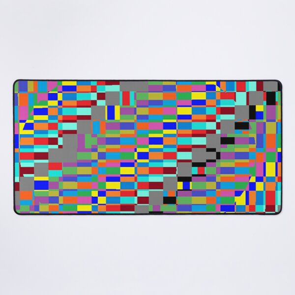 Trippy Vertical Colored Squares Desk Mat