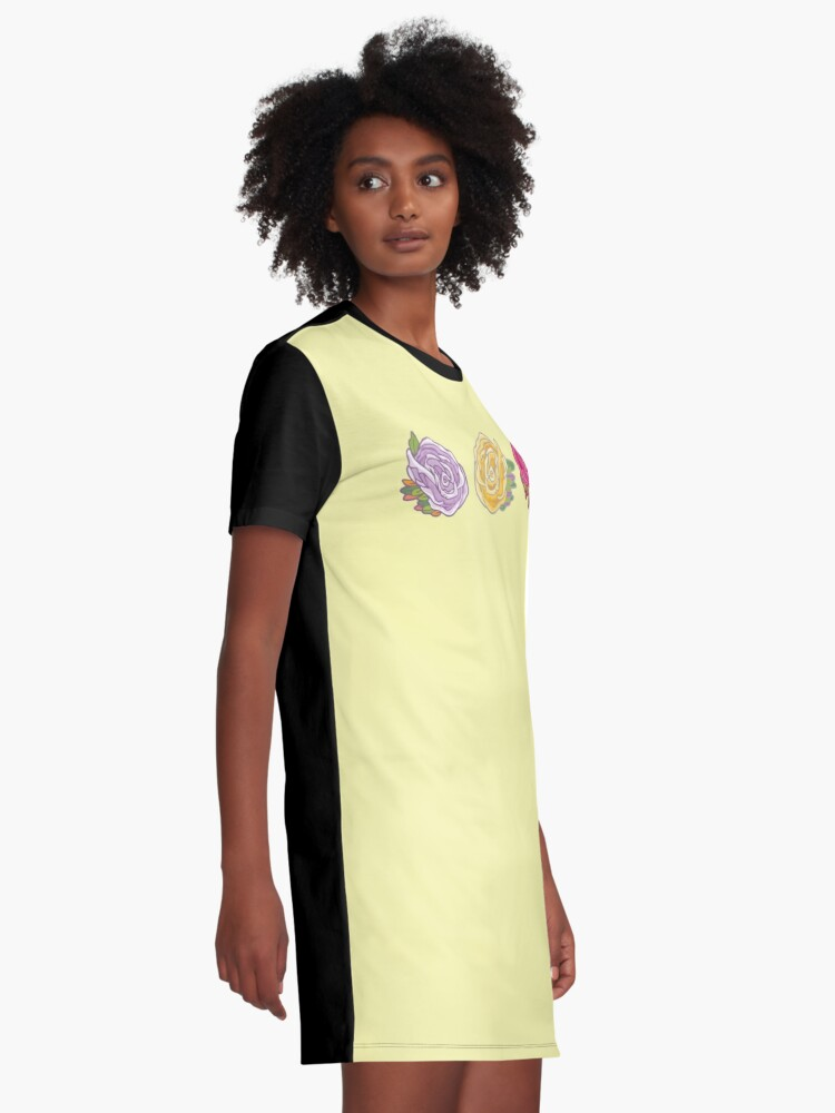 Alternate view of Decorative Roses Graphic T-Shirt Dress