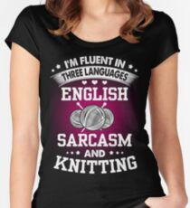 English, Sarcasm And Knitting Women's Fitted Scoop T-Shirt